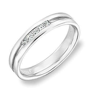 Oro bianco 18K unico Inlay Canale Impostazione cinque pietra anello con diamante taglio Princess (0,12cttw, certificato G-H, colore VS2-SI1Chiarezza), oro bianco, 54 (17.2)