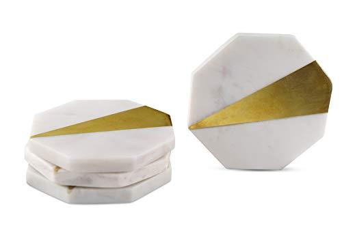 GoCraft CC0184-RM] Untersetzer aus Messing und Marmor, handgefertigt, geometrisch, Weiß Marmor mit Messing-Inlay für Ihre Getränke, Getränke und Wein/Bar Gläser (4 Stück) -