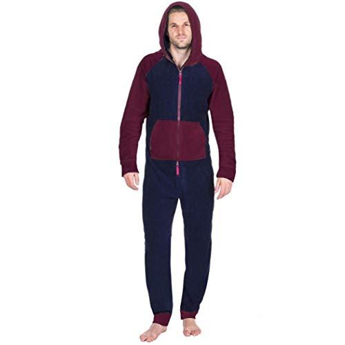 Grenouillères Longue Combinaison Pyjama Ensembles Chaude Zip Hommes, QinMM Hommes Tout dans Un Encapuchonné Longue Manche Français Doux Intérieur Pantalon (Rouge, Medium)