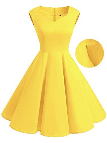 IVNIS Damen Vintage Rockabilly Semi Feste Gürtel Kleider Swing V Ausschnitt Kleid mit Taschen Yellow
