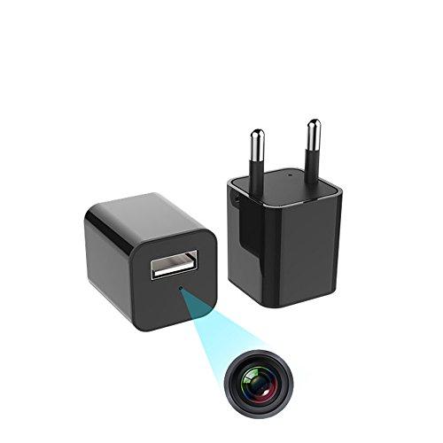 Cámaras ocultas Cámara oculta del cargador de la pared del USB de 1080P HD, enchufe del adaptador del cargador de la cámara espía de Nanny con la función de detección de movimiento Adjunte el manual de instrucciones multilingue