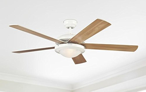 31JZH9jE3pL - Westinghouse Ceiling Fans 78017 Comet One-Light 132 cm Five Indoor Ceiling Fan, Frosted Glass, White Finish with…