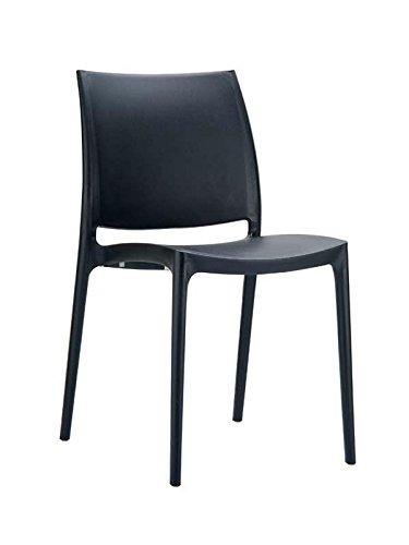 Chaise de jardin empilable en plastique noir - 81 x 44 x 50 cm -PEGANE-