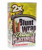 Platinum Double Blunt Wrap pour ongles en goût fraise Kiwi–2paquets par Trendz