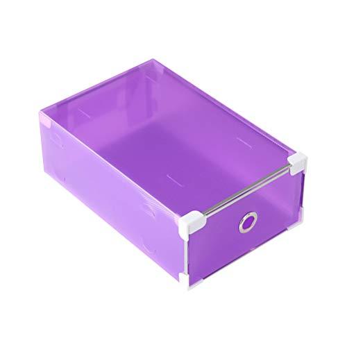 Yardwe 5 stücke Schuhe Box lagerung stapelbar Faltbare Hause schuhbehälter transparent büro Organizer für männer Frauen (Lila) (Sneaker Box-speicher)