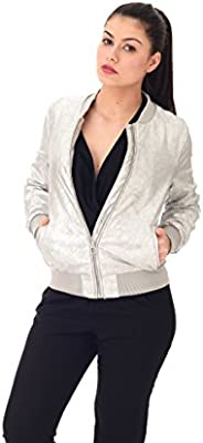 Only Onlmelissa Faux Suede Silver Bomber Otw, Chaqueta para Mujer