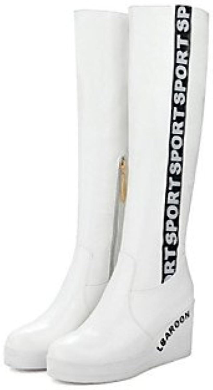 Heart&M Mujer Zapatos PU Otoño Invierno Confort Botas de Moda Botas Tacón Cuña Dedo redondo Cremallera Para Vestido... -