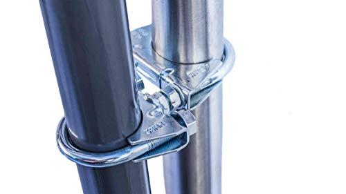 STORM-PROOF - Schirmhalter runde Geländer, Schirmstock 25mm bis 32mm, stabile 2-Punkt-Befestigung aus verzinktem Stahl, für Schirme bis 3,5m Durchmesser und Ampelschirme bis 3m Durchmesser -