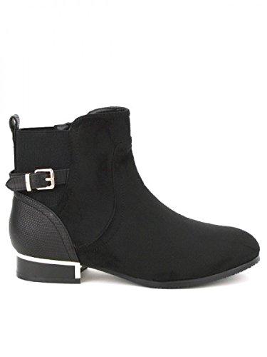 Cendriyon, Bottine Simili peau cuir Noire MOANA Chaussures Femme Noir
