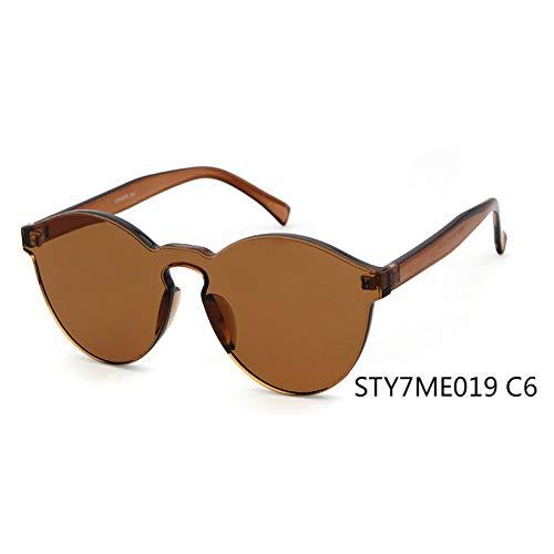 Taiyangcheng Gafas de sol transparentes Ojo de gato Mujeres Hombres Gafas de sol transparentes Gafas integradas Caramelo Rojo,C6