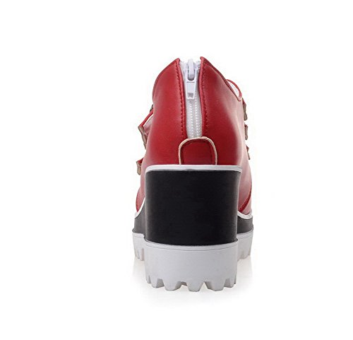 VogueZone009 Damen Reißverschluss Hoher Absatz Pu Leder Rein Rund Zehe Pumps Schuhe Rot