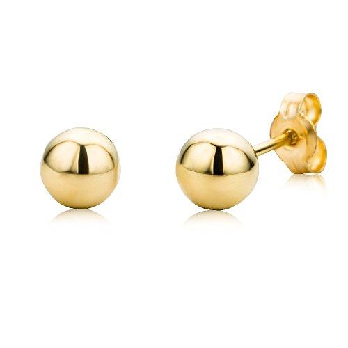 Miore Kugel Ohrstecker für Damen 9 Karat - Dezente, glänzende Ohrringe aus 375 Gelbgold in Kugelform - Ohrschmuck klein Ø 5 mm