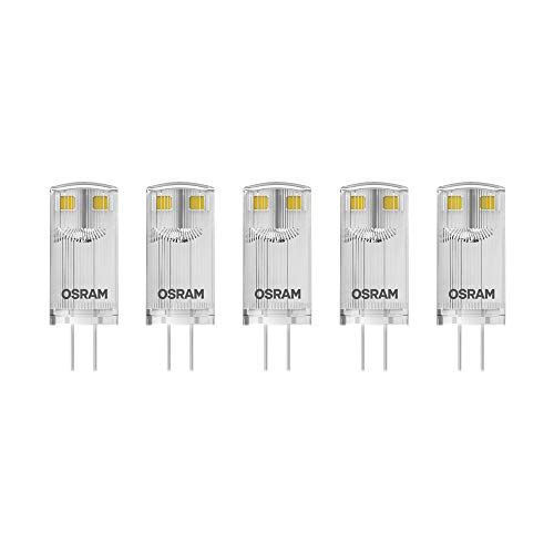 Osram LED Base Pin G4 12 V / Lampe, G4, 0, 90 W, 10-W-Ersatz - für, klar, Warm White, 2700 K, 5 - er-Pack