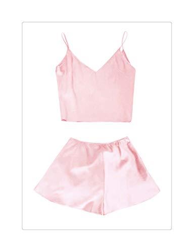 a Set Women Silk Satin Pajamas Set Deep V Neck Cami Top Shorts PJ Set Sleepwear Female Nightwear Night Suit Pink L ()