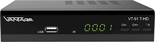 Vantage vt91DVB-T Receptor de HD (T2, hevc, Pantalla, USB, HDMI, SCART, Reproductor Multimedia), Color Negro