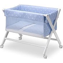 Pirulos 28113010 - Minicuna plegable tijera natural, diseño stars, 68 x 90 x71 cm, color blanco y azul