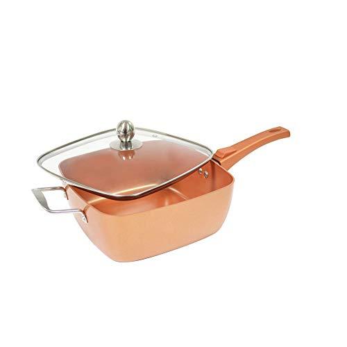 Starlyf® Square Copper Pan Quadratische tiefe Pfanne 24x24x9.5 cm mit Antihaftbeschichtung Original aus TV