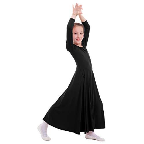 OBEEII Mädchen Tanzstrumpfhose Liturgisch Tanzkleid Lange Ärmel Jugendliche Elegant Worship Tanzkleidung Ballett Jazz Lateinischer Tanz Kirche Chor Beten Gebet Kostüm für Kinder Schwarz 9-10 Jahre