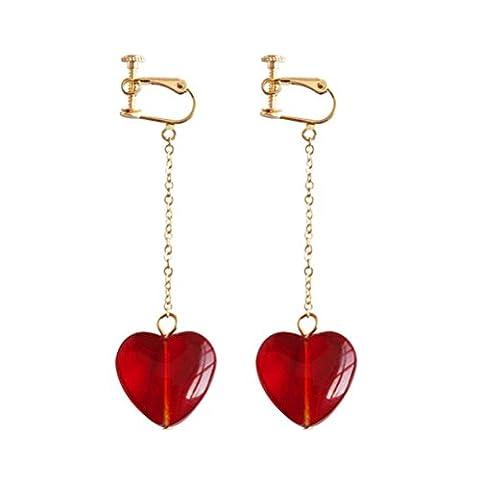 Screw Back Clip on Earring for non Pierced Red Heart Resin Long Tassel Fashion Jewelry for Women
