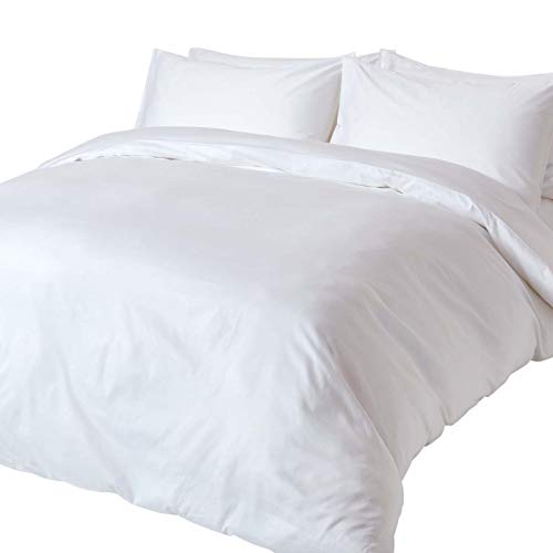 Homescapes 2-teiliges Bettwäsche-Set - 100% Bio-Baumwolle, Fadendichte 400 Perkal - Bettbezug 135 x 200 cm mit Kissenbezug 48 x 74 cm - weiß -