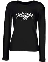 T-Shirt para Las Mujeres Manga Larga Negra TB0227 Cafe Racer 7 54614adc47c00
