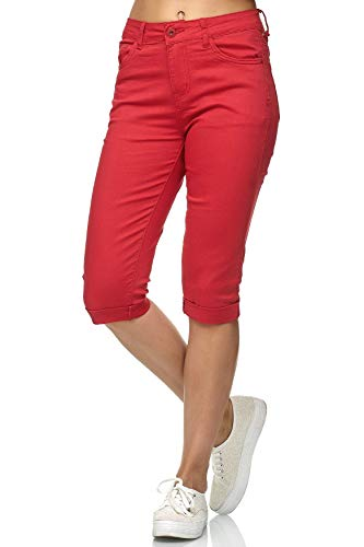 Damen Capri Jeans 3/4 Stretch Bermuda Shorts Big Size Hose, Farben:Rot, Größe Damen:38 / M