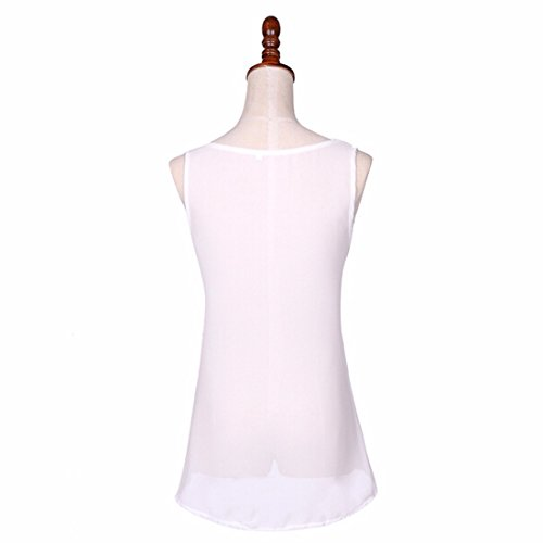Femmes Poche En Mousseline De Soie D'Ete Debardeurs Reservoir Chemise Sans Manches Blouse Nouvelle Mode Blanc