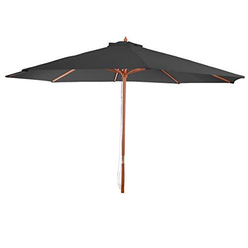 Mendler Parasol Florida, Parasol de Jardin, Parasol de marché, Ø 3,5m Polyester/Bois 7kg ~ Anthracite