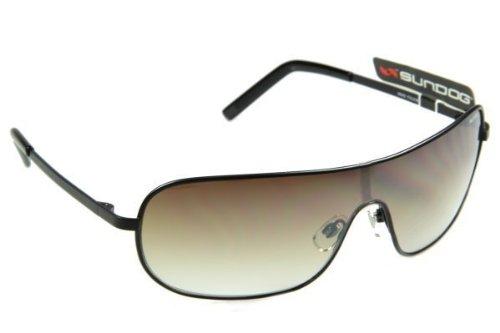 Sundog Unisex-Erwachsene Single Objektiv Aviator Golf Sonnenbrille Gunmetal Rahmen mit Braun 100% UV-Schutz Linse