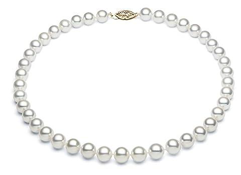 Eau Salée–Collier Femme–Perle de culture d'Akoya Blanc 6–6,5mm Or Blanc 14K A + qualité