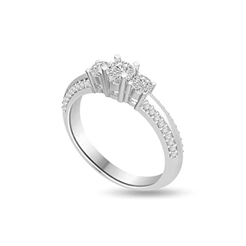 0.80ct G/SI1 Diamond Trilogy Promise Ring for Women with Round Brilliant cut diamonds in 18ct White