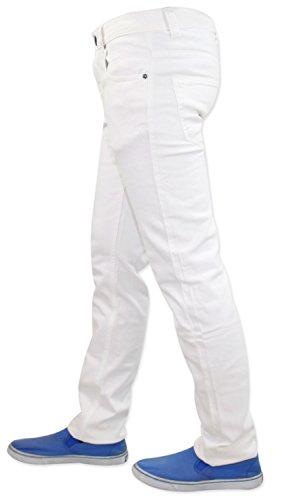 Neue Trueface Brand Herren jeans Slim Fit Stretch 5 Pocket Western Basic Weiß