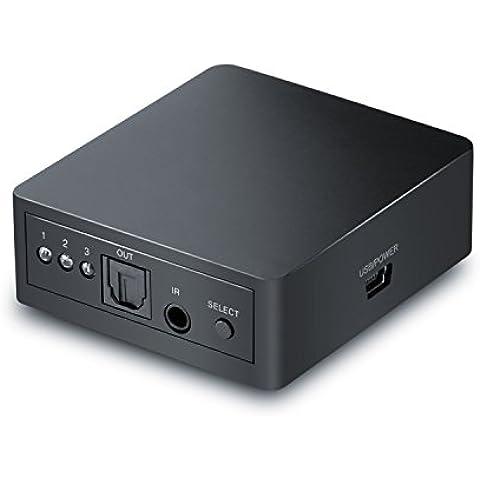CSL - Switch Toslink 3x1 / SPDIF (TOSLINK) commutatore audio con telecomando | Trasmissione 1: 1 | Trasmissione del segnale senza perdita | Apple TV, PS3/PS4, Xbox/Xbox One, lettore Blu-ray, ecc. Per soundbar, ricevitore, box altoparlanti, sistema hi-fi ecc.) | nero