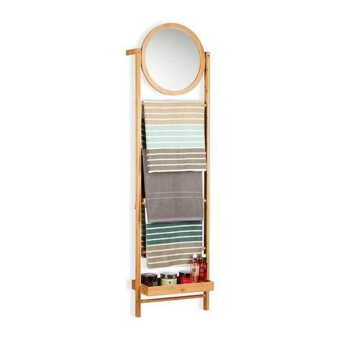 Relaxdays Toallero de Pie Escalera con Espejo, Bambú, Beige, 160 x 45 x 23.5 cm