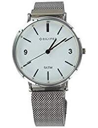 Reloj Bilyfer para Mujer con Correa Plateado y Pantalla en Blanco 1F620C-N