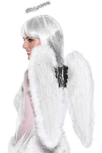 Smiffys 23054 - Engel Set weiß Wings und Halo mit Marabou, 55 cm x 50 cm - Dress Up Halo