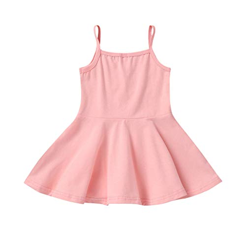 Alwayswin Ärmellos Sling Strandkleid Baby Mädchen Sommer Weste Kleid Baumwolle A-Linien Kleid Festkleid Druck Einfarbig Mode Kleid Freizeit Süß Babykleidung(6M-4T)