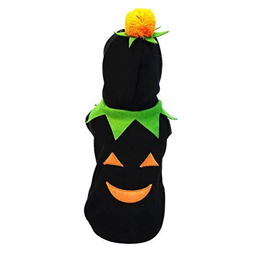 Etophigh Halloween-Kürbis-Hundekostüm Haustier-Winter-warme Kleidung 2 mit Beinen versehene Hoodie-Mantel-Jacken-Strickjacke für Hundewelpen (Von Kaufen Halloween-kostüme Ein Art Sie Einer)
