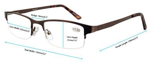 6060fc2061 Amcedar Metal Half-Frame Reading Glasses Men 5-Pack Spring Hinges ...