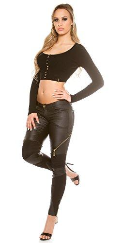 Glänzende Party-Hose mit Stretch-Einsätze und Zippern Schwarz
