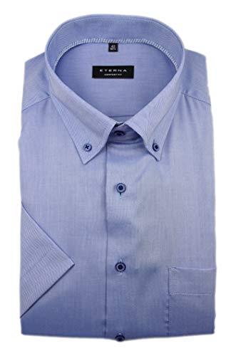 Preisvergleich Produktbild eterna Herren Kurzarm Business Hemd Comfort Fit Oxford BD Classic-Button-Down-Kragen Unifarben 8932.K19L (Blau,  W40,  Länge Kurzarm)