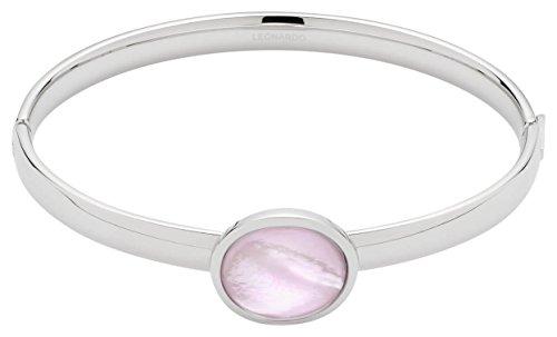 JEWELS BY LEONARDO Damen-Armreifen Positano Edelstahl Glas rosé rosa silber perlmutt 016586 (Stimmung Ring Und Halskette)