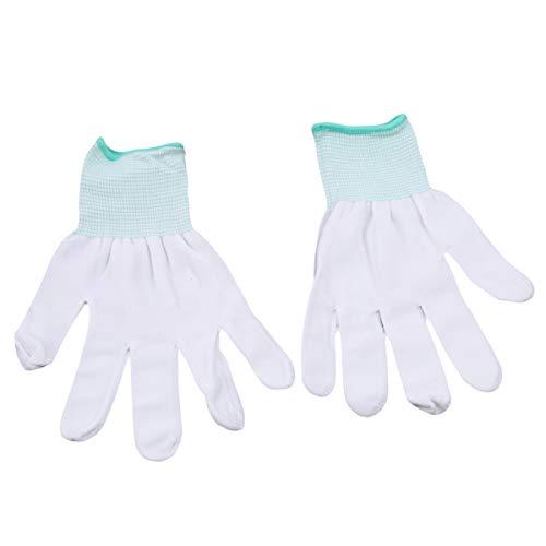 Beiswin 1 Paar Weiße Bewegungsmaschine Nylon Arbeitshandschuhe Quilten Nähen für Hausgarten Reinigungswerkzeug (Grün-M) -