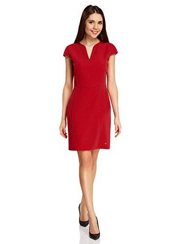 oodji Collection Damen Tailliertes Kleid mit V-Ausschnitt, Rot, DE 36 / EU 38 / S