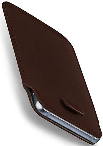 moex Apple iPhone 5S | Hülle Braun Sleeve Slide Cover Ultra-Slim Schutzhülle Dünn Handyhülle für iPhone 5/5S/SE Case Full Body Handytasche Kunst-Leder Tasche (Iphone 5s Case-tasche Für Frauen)