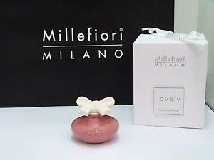 Millefiori milano lovely fiocchetto rosa violetto + ricarica 50 ml profumatore ambiente bomboniere diffusore tappo gesso (fragranza a scelta tra le 3 disponibili)