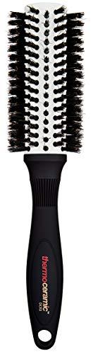 Denman Rund-Haar-Bürste Thermoceramic, zum Föhnen und Glätten mittellanger Haare, Keramikkörper mit Wildschweinborsten, Durchmesser 31/56 mm -