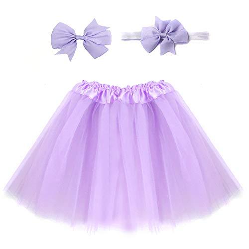 (xbwwt Kleinkind Kinder Baby Mädchen Sonnkleid Lovely Pullover Rock Party Kleid Casual Strand Kleid (Send Stirnband) Violett Hellviolett)