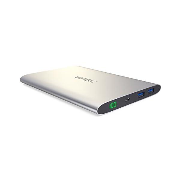 VINSIC Powerbank, 20000mAh Tre Porte QC 3.0 Rapida Carica Caricabatterie Portatile Micro&Type-C Dual USB Output Batteria… 1 spesavip