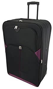 "Extra Large 32"" Lightweight Luggage Wheeled Trolley Suitcase Case XL Travel Bag (2119 - Black Purple)"